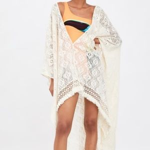 Textured kimono with fringe, new with tags